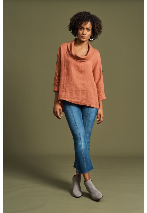EB & IVE Jacinda Cowl Top S/M - Terracotta