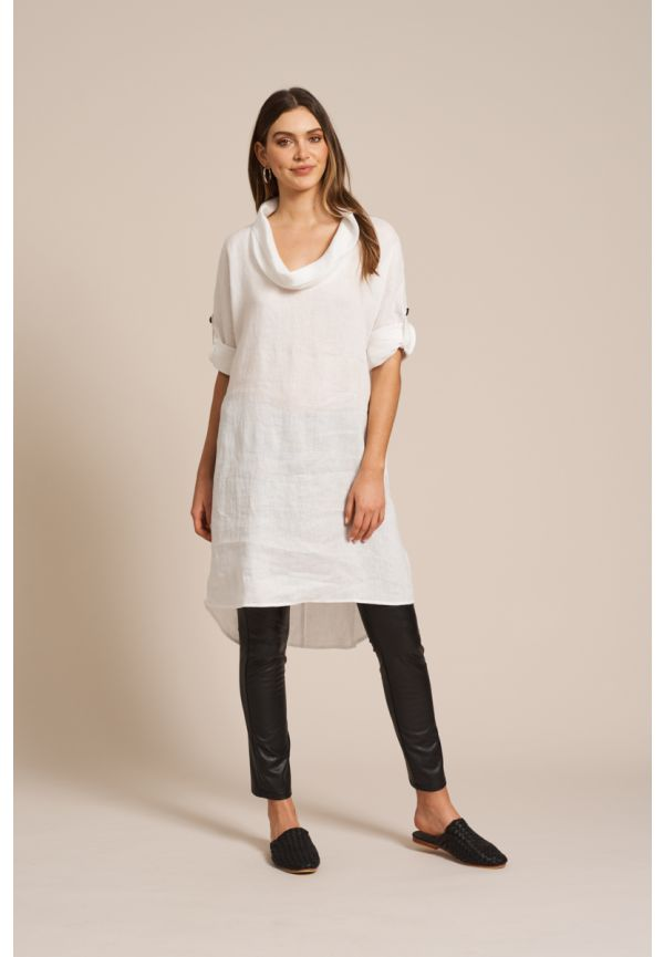 EB & IVE Jacinda Cowl Dress S/M - White
