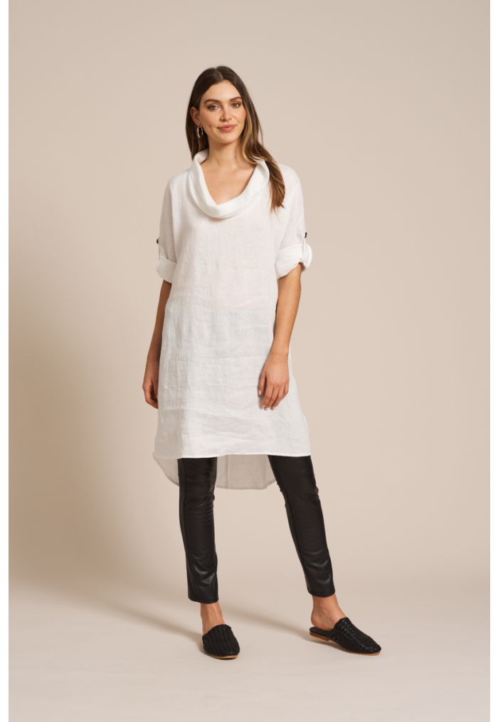 EB & IVE Jacinda Cowl Dress M/L - White