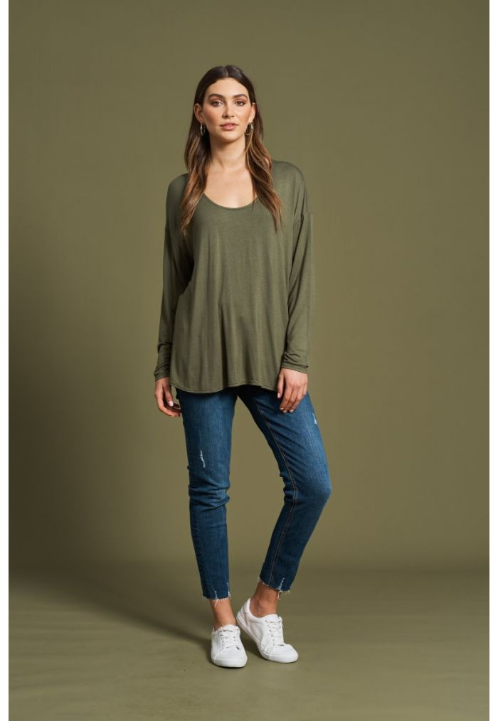 EB & IVE Oprah Scoop Top ONE SIZE - Moss