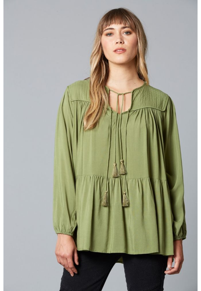 ISLE OF MINE Dawn Tassel Top ONE SIZE - Forest