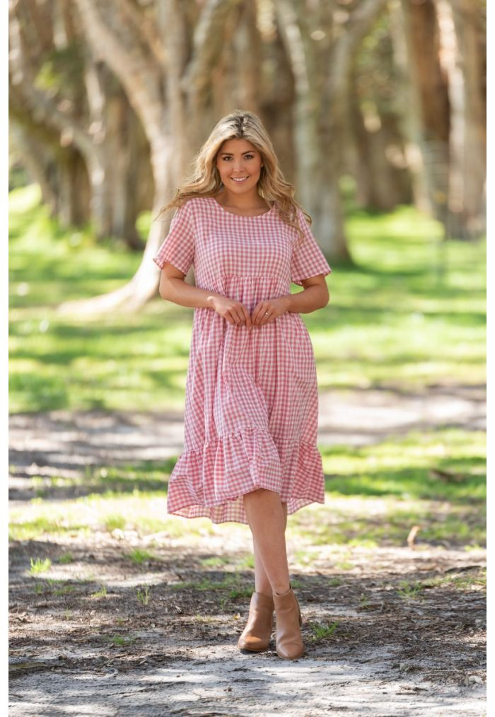 BOHO JAISON CHECK MIDI DRESS