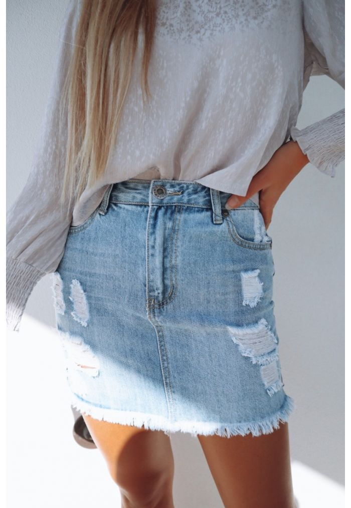 WAKEE BUNBURY TRASH DENIM SKIRT