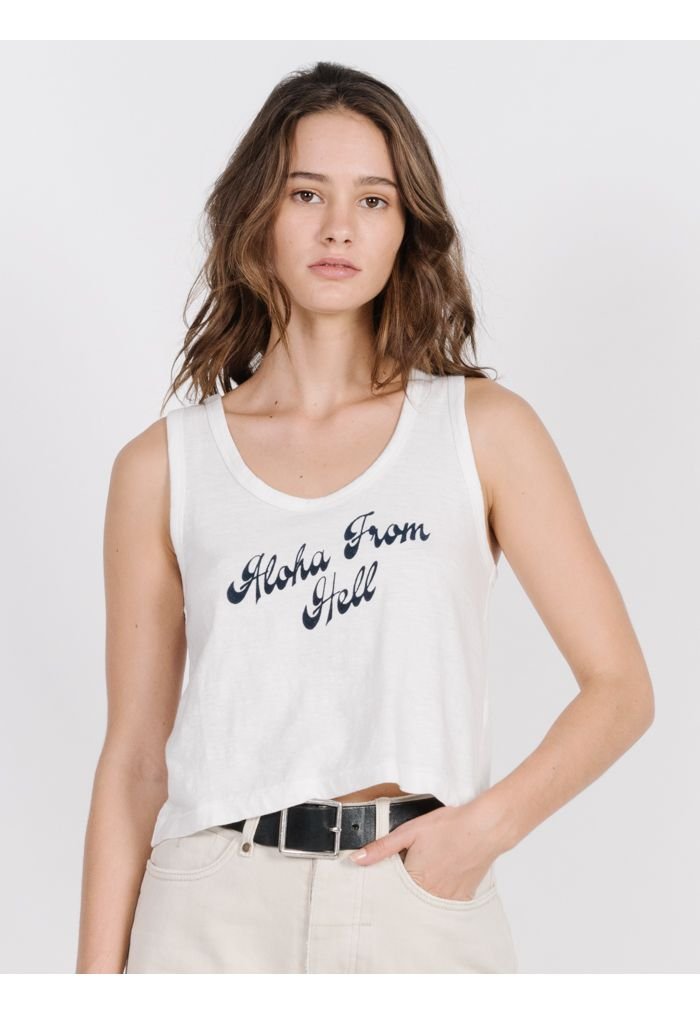 Thrills Aloha Crop Scoop Tank - Dirty White