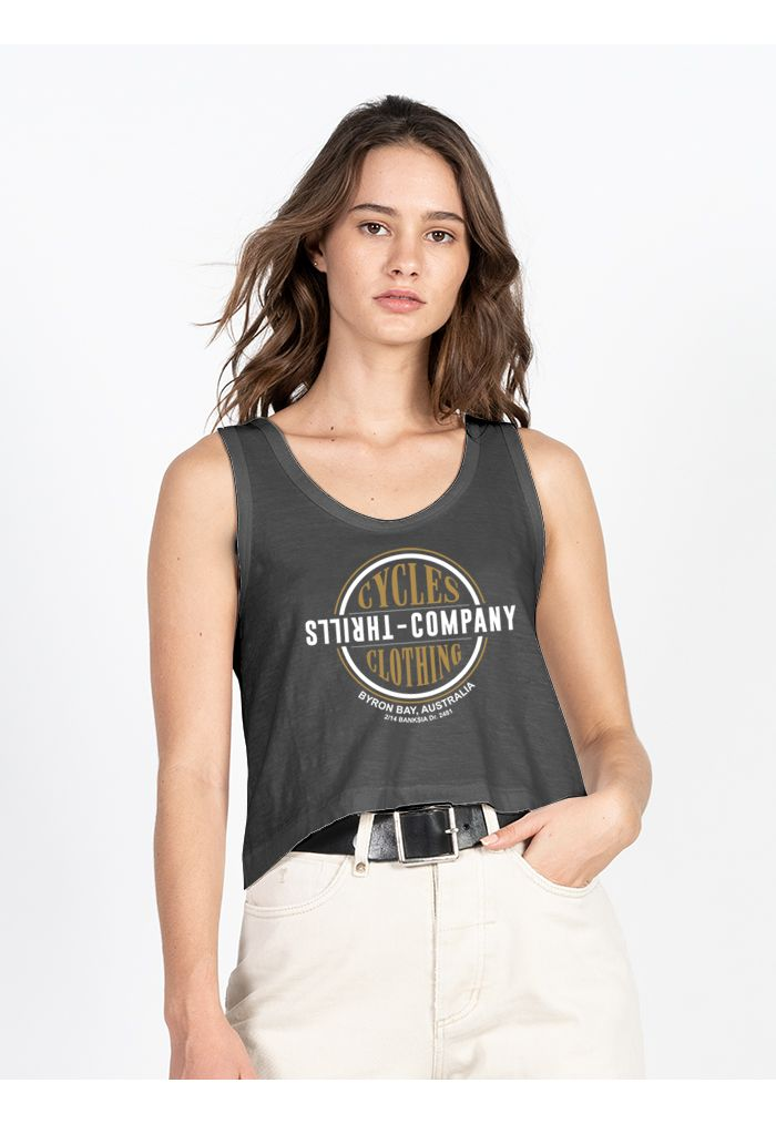 Thrills Cycles & Clothing Crop Scoop Tank - Merch Black